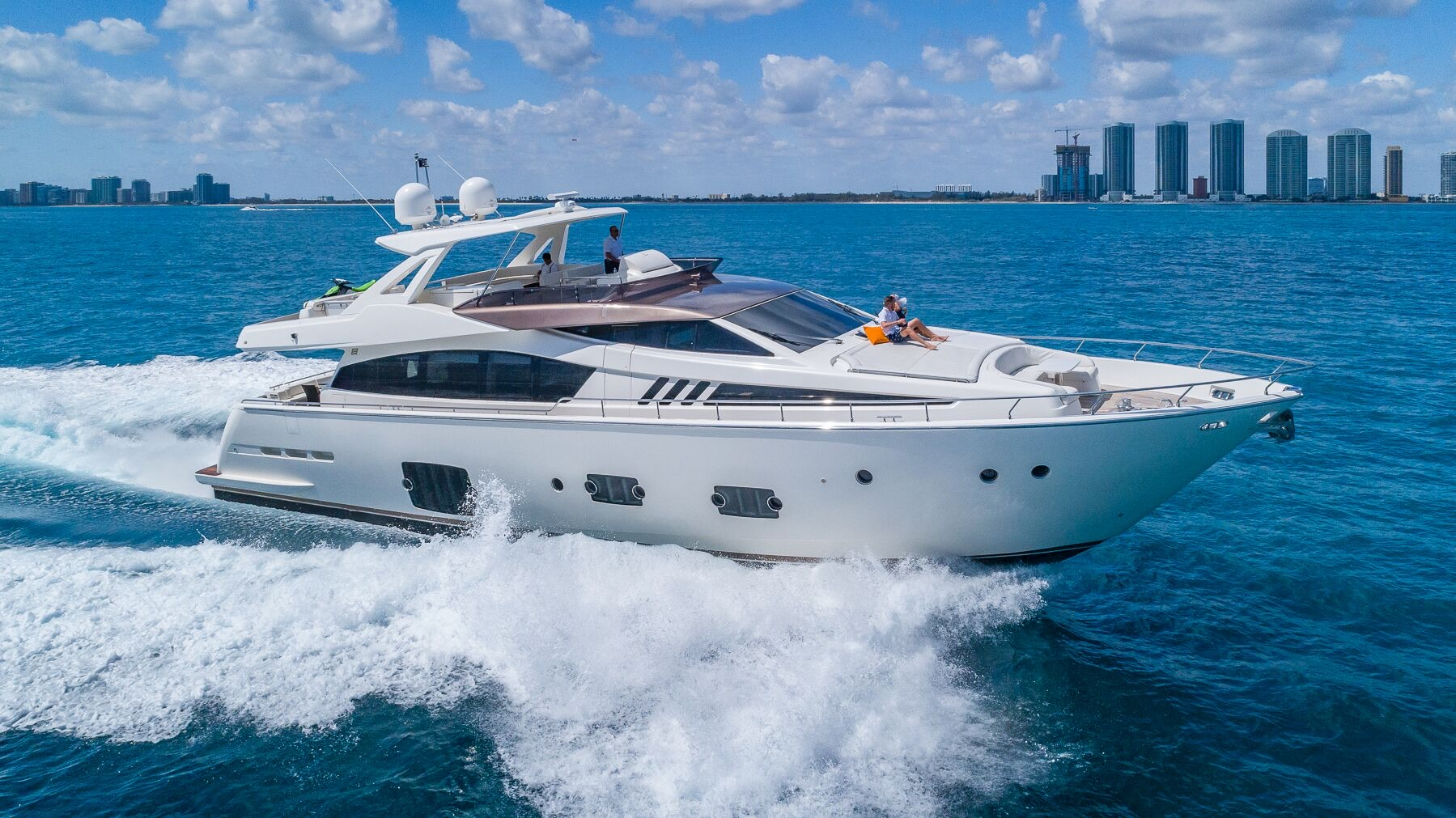 80 Foot Ferretti Yacht Rental South Beach Miami