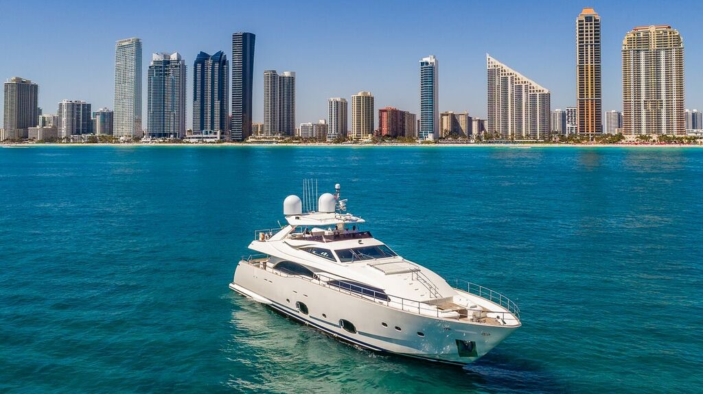 97 Foot Ferretti Yacht Rental North Miami Beach