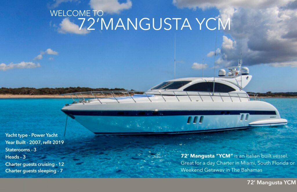 72' Mangusta South Florida Boat Rental