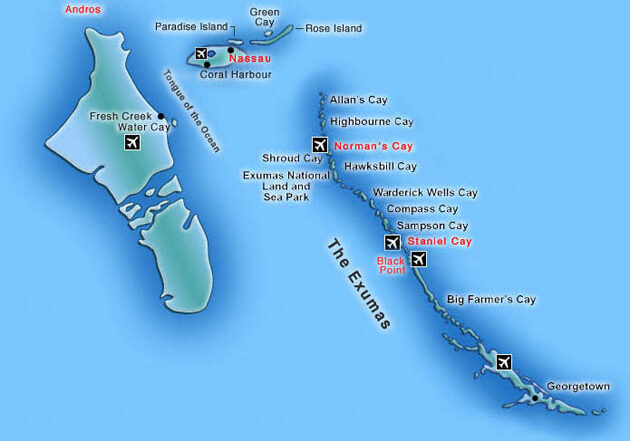 Bahamas Exuma Islands Yacht Charter Map